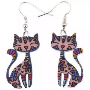 Brown Kitten Floral Acrylic Ear Drop Earrings